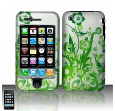For iPhone 3G 3GS (AT&T) Rubberized Design  Case Cover Protector - Green Vines