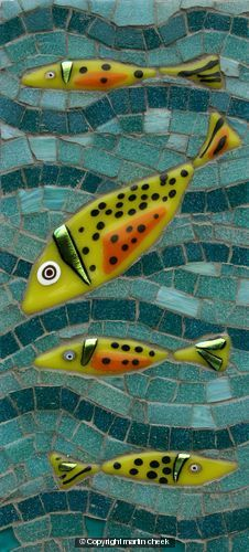 Yellow Fish ~ Glass Fusions and Vitreous Glass mosaic ~ by Martin Cheek