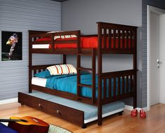 Get the most out of your space with our classic mission twin over twin bunkbed with a fixed ladder. Our bunkbed features solid pinewood construction in an attractive dark cappuccino finish. Includes a