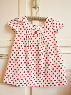 Girls Dress Vintage Spotty  Polka Dot Red White by apieceofpie...For my Ellie!