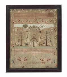 A GEORGE II SAMPLER GOLDSBOROUGH, DATED 1755 Worked in coloured silks to a natural linen ground, depicting Adam and Eve in the Garden of Eden, with inscription 'At Goldsborough work 1755'