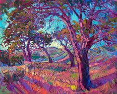Colorful vineyard oil painting landscape by impressionist Erin Hanson