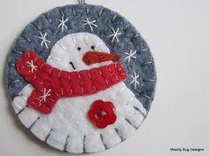 White Wool Felt Snowman Ornament