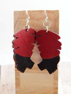 African Lady with HeadWrap Earrings African Jewelry Red Earrings Afrocentric Wood Earrings Headwrap Black Women Earrings Dangle Cute