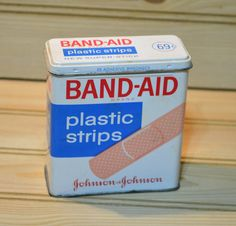 Vintage Metal Band-Aid Container Tin Box Johnson & Johnson Medical Plastic Strips Bandage Advertising Advertisement Collectible by grannysbackporchvint on Etsy