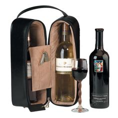 Royce Leather Suede Lined Double Wine Carrying Case in Vegan Leather
