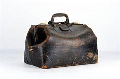 Vintage Leather Doctor Bag Black Doctors Medical Apothecary Old Antique