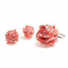 Parure boucles d'oreilles et bague roses origami papier washi rouge