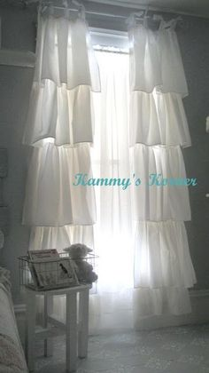 DIY:: Shabby Chic Curtains - these are so pretty!!! Be great in the room with the white iron bed!                              awesome! I have a king dust ruffle and I love the fabric. I was thinking curtins, this would be perfect idea.