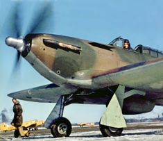 These Canadian versions were equipped with Packard Merlin 28 power plants and Hamilton Standard Hydromatic propellers. From a cini film. Photo via James Lloyd. Navy Aircraft, Ww2 Aircraft, Military Aircraft, Cienfuegos, Spitfire Airplane, Hawker Hurricane, Ww2 Pictures, Ww2 Planes, Battle Of Britain
