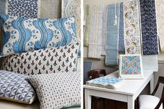 From left, pillows made with the trio's textiles and their hand-blocked and -painted papers, available at John Derian Co. in June.
