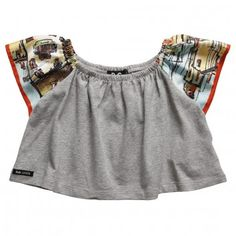 D&G Junior  Girls Cropped Grey Cotton Wide-Fit Top with Printed Sleeves