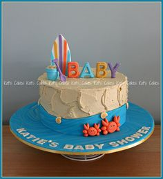 Karyn wanted a unisex beach inspired cake for her Sister Katie's baby shower. Colours are based on those from the invitation. Cake: Chocolate mud Filling: Chocolate ganache Finish: Brown sugar flavoured buttercream Decorations: All made from fondant.