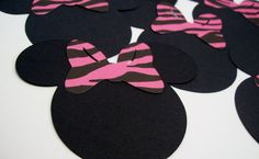 Minnie Mouse Heads with Pink Zebra Print Bows