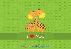 Giraffes hugging - Cartoon  vector card