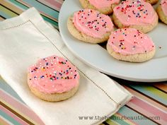 Gluten-free Sour Cream Sugar Cookies - The Baking Beauties - didn't have all the flours so used a gf mix and used about 3 cups - turned out great - not super sweet so would be perfect frosted Gluten Free Sweets, Gluten Free Cooking, Gluten Free Recipes, Gf Recipes, Baking Recipes, Easy Recipes, Sour Cream Sugar Cookies, Rolled Sugar Cookies, Foods With Gluten