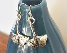 Ginkgo Leaf Earrings Antique Tibetan Silver by LuckyKarmaCreations