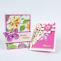 Yhdistele upeita kukkakuvioisia papereita ja kuvioleikkurin ja -terien avulla leikattuja kuvioita kauniiksi korteiksi. Ääriviivatarran voit vaihtaa sen mukaan, onko kortti ystävälle, äidille vai syntymäpäiväsankarille.