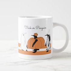 Cute Funny Penguin Animal Halloween Personalized Giant Coffee Mug - funny comic style comics geek geeks lol fun cyo
