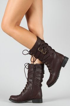 Stella-2 Lace-up Military Mid-calf Boot