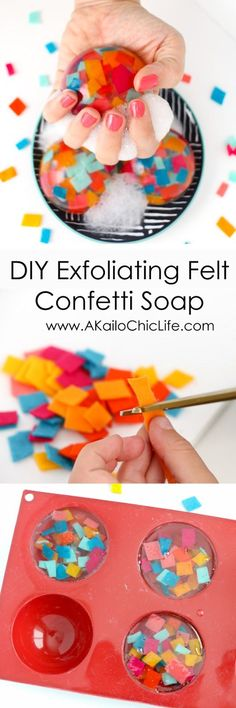 Make It - Colorful Confetti Soap - Learn how easy it is to make your own soap using glycerine melt and pour soap base. This is a fun craft project for kids, teens, or adults.