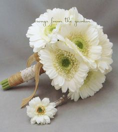 Lace & Jute White Gerber Daisy Silk Flower Bridal Bouquet Boutonniere White Silk Gerber Daisies Burlap Wedding Flower Package