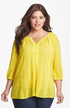 Sejour Embroidered Chiffon Blouse (Plus Size)