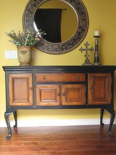 This is the other of my two favorite pins on this board so far. I adore this piece! European Paint Finishes: Black Sideboard w/ Wood Inlay ~ Have a buffet that I am thinking of repainting Paint Furniture, Furniture Projects, Furniture Makeover, Furniture Cleaning, Furniture Movers, Furniture Stores, Garden Furniture, Rustic Entryway, Entryway Decor