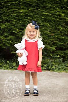 Penny's Pinafore Dress - Richmond Red Corduroy with White - The Beaufort Bonnet Company