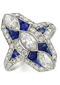 An Art Deco Sapphire and Diamond Plaque Ring, circa 1920.