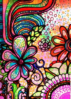 Floral Zentangle with lots of color, sweet!!!