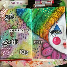 """I had a little pile of leftover """"sparkle"""" papers from making my mobile and saved them to use on the rainbow background that I started last week. #artjournal #artjournaling #doodles"""