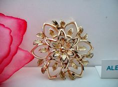 Vintage Sarah Coventry Floral Star Brooch Pin by ALEXLITTLETHINGS