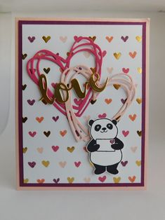 January Stamp Club (2018). Valentine's Day card. Supplies used: Powder Pink, Rich Razzleberry, Melon Mambo, and Whisper White cardstocks. Gold Foil Sheets and Painted With Love Specialty DSP. Basic Black Archival Stampin' Ink pad. Party Pandas stamp set.Sunshine Wishes Thinlits. Paper trimmer. Big Shot Die-cutting machine. Paper Snips. Dimensionals, glue dots and SNAIL adhesive.