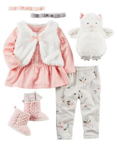 73f43551d Carter's Infant Girls Gold Heart Baby Outfit 2 Pc Love Bodysuit ...