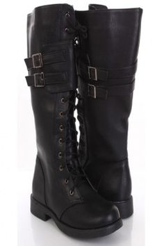 Ive had these shoes before and have worn them to death. Only shoe Ive ever bought twice and these are much cheaper then those. Black Faux Leather Lace Up Tie Buckle Strap Flat Midcalf Boots