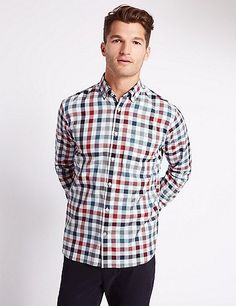 Buy the Pure Cotton Checked Shirt with Pocket from Marks and Spencer's range. Casual Wear For Men, Casual Shirts For Men, Dress Down Friday, Fun Valentines Day Ideas, Check Shirt, Pocket, Mens Tops, Cotton, How To Wear