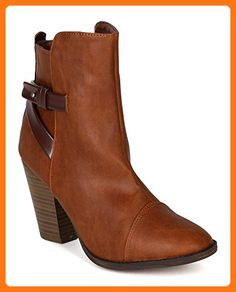 371d55be12d Breckelles BF77 Women Leatherette Criss Cross Strap Chunky Heel Ankle  Bootie - Tan (Size  10) ( Partner Link)