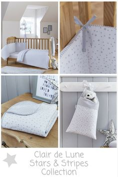 Discover The Gorgeous Clair De Lune Grey Stars And Striped Cot Bed Bedding Set