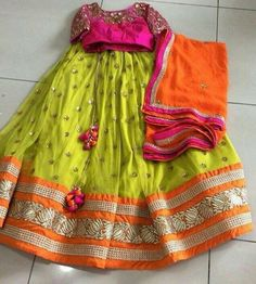 Neons never go wrong Half Saree Designs, Choli Designs, Lehenga Designs, Blouse Designs, Kids Indian Wear, Indian Party Wear, Indian Dresses, Indian Outfits, Mehendi Outfits