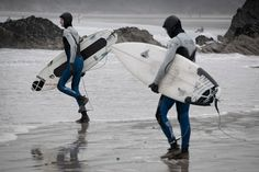 Surfers in Newquay Cornwall