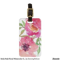Girly Pink Floral Watercolor Custom Bag Tag - Pretty and feminine, this vibrant pink watercolor floral pattern features a pair of deep pink flowers with flowing branches that add a touch of green. Customize the reverse side with your name and address for a beautiful travel luggage tag. Sold at DancingPelican on Zazzle.
