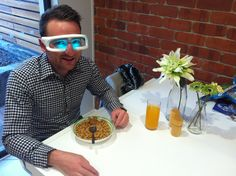 Matt wearing Re-Timer sleep glasses in the morning. Re-Timer is a portable light therapy device so you can wear it while going about your normal morning routine i.e. eating breakfast. Re-Timer can change your sleep, brighten your mood by fighting the winter blues, manage shift work fatigue or help you to avoid jet lag.  www.re-timer.com