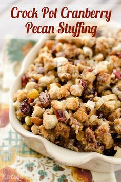 Crock Pot Cranberry Pecan Stuffing - Krafted Koch -  A light and easy stuffing recipe made in your slow cooker perfect for a Thanksgiving side dish!