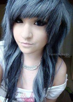 #blue  #black #dyed #hair #pretty