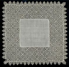 In the 16th century people used plain linen handkerchiefs for the same purposes they do today. Decorated handkerchiefs, however, were often purely fashionable accessories and gifts. This example has cutwork decoration. Cutwork is the earliest form of needle lace. It is based on a woven ground, from which areas have been cut away. The technique developed during the 16th century. Lacemakers cut away increasing areas of fabric to create a geometric grid of threads over which they worked their…
