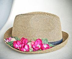 Women hats sun straw fedora floral garden party by dantiehandmade