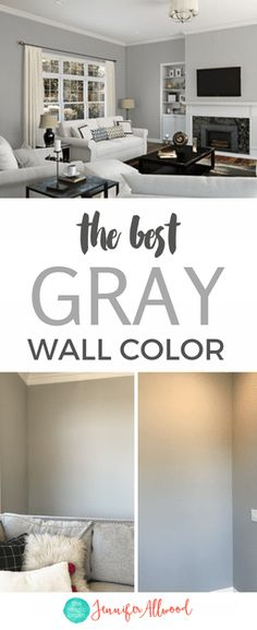 The best GRAY wall color by Jennifer Allwood I absolutely love it! We are painting the entire house in this gorgeous gray paint color - can't wait to show and share this Sherwin Williams color! Grey Walls Living Room, Gray Painted Walls, Grey Paint Living Room, Living Room Wall, Living Room Grey, Room Colors, Living Room Wall Color, Room Wall Colors, Grey Paint