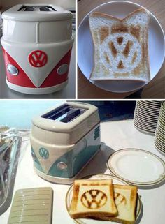 The Volkswagen Hippie Minibus Toaster Via Jay Mug How cool this toaster? This is an original item from Volkswagen Japan. This is a must for every fan of VW's breakfast table. Vw Hippie Van, Vw T1 Camper, Vw Caravan, Campers, Camper Life, Volkswagen Bus, Volkswagon Van, Vw T4, Vw Minibus
