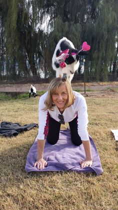 Fashion bloggers doing goat yoga as seen on Petite Over 40. www.GoatYoga.com Arizona